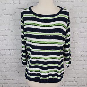 Christian Siriano Navy Green Striped Sweater Top S
